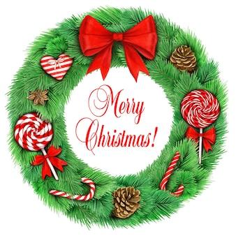 Realistyczny wieniec bożonarodzeniowy akwarela z dużą czerwoną kokardą i słodyczami vintage ilustracji