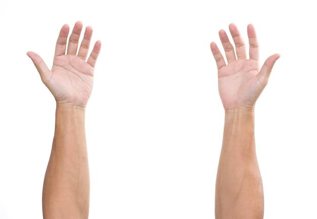 Ręce człowieka na białym tle na białej powierzchni