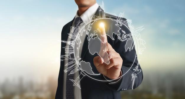 Ręce dotykają przycisku interfejsu globalnego połączenia