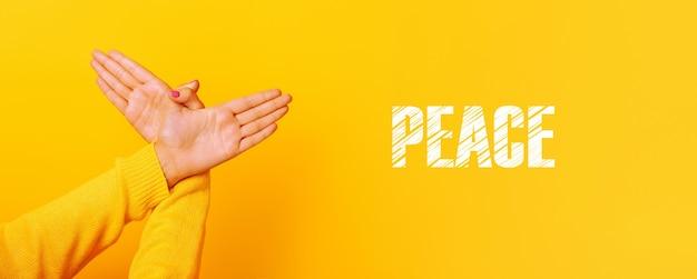 Ręce gest ptaka na żółtym tle, panoramiczny obraz z napisem peace