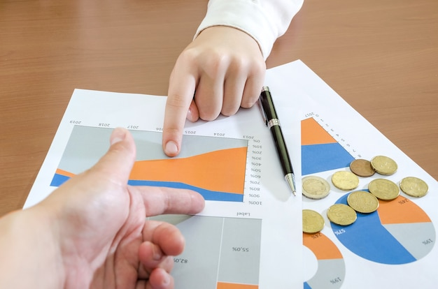 Ręce kobiety biznesu na tle wykresów biznesowych pojęcie analizy ryzyka