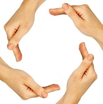 Ręce kobiety na białym tle