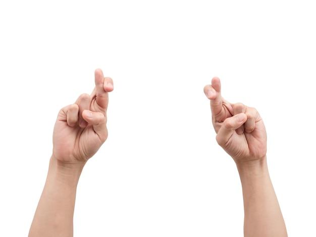 Ręce krzyż palec biały na białym tle