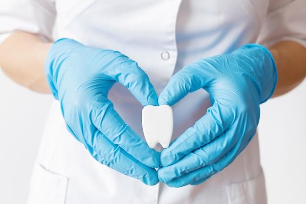 Ręce lekarza dentysty w niebieskich rękawiczkach trzymają model zęba w postaci serca.