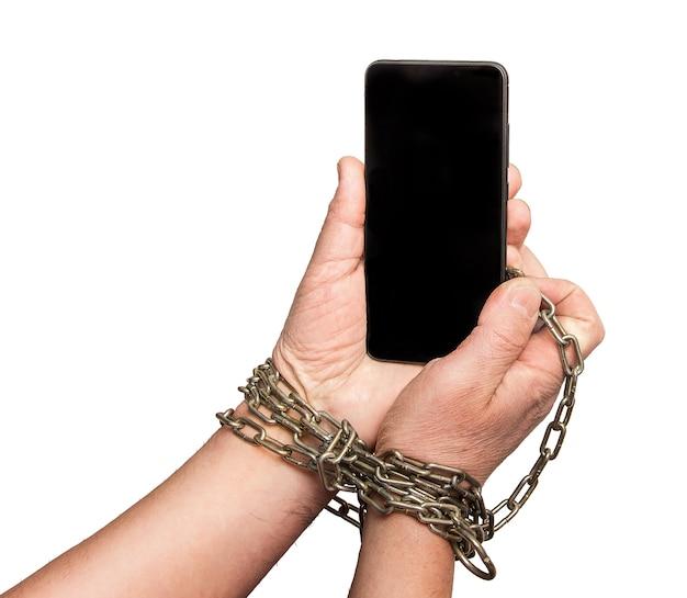 Ręce przykute do telefonu komórkowego