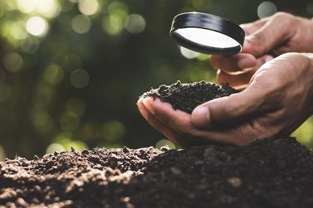 Ręce rolników wybierają najlepszą glebę do sadzenia.