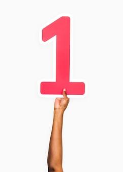 Ręce trzymając numer 1