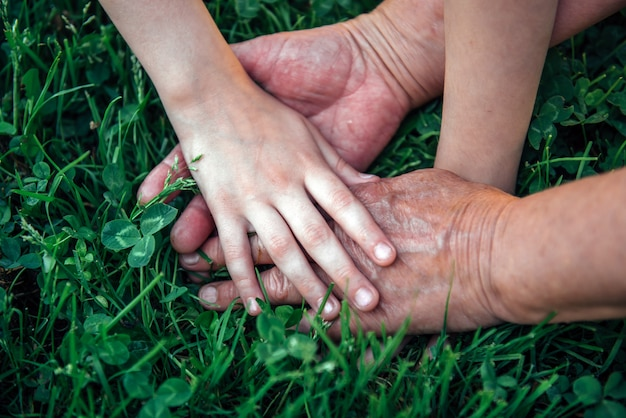 Ręce, trzymając się na trawie