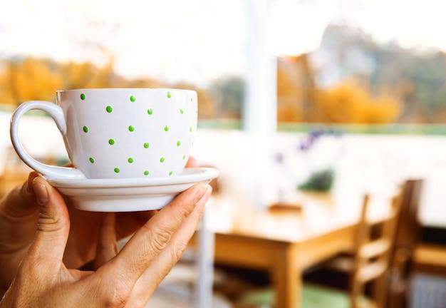 Ręce trzymające białą filiżankę w polka dot gorącej czekolady kakaowej lub herbaty