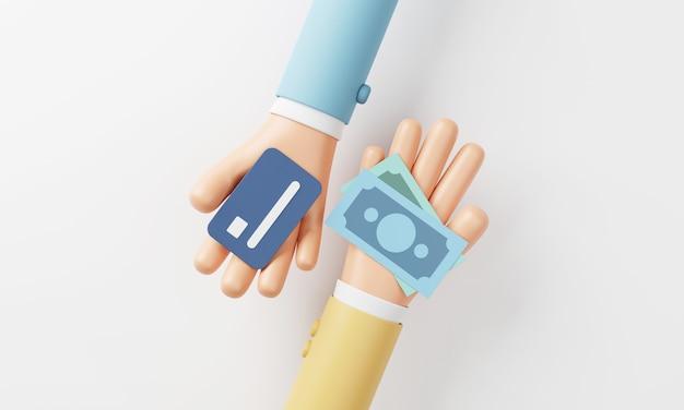 Ręce trzymające karty kredytowe i rachunki pieniężne