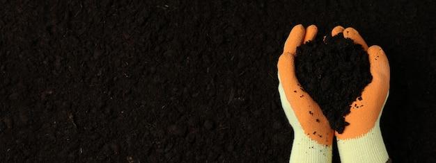 Ręce w rękawiczkach trzymają ziemię na ziemi