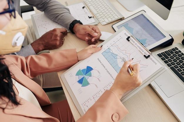 Ręce współpracowników analizujących wykresy z działalnością gospodarczą oddziałów firmy