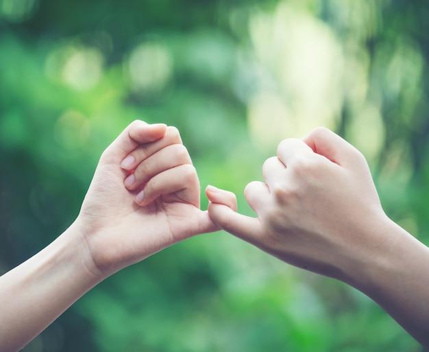 Ręce zaczepiają się nawzajem o mały palec na tle przyrody
