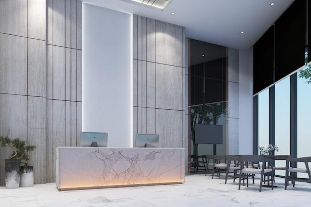 Recepcyjny poczekalnia lobby z ścianą dekoruje sprzedaż galerię na biel marmuru podłoga i stół z krzesła 3d renderingiem