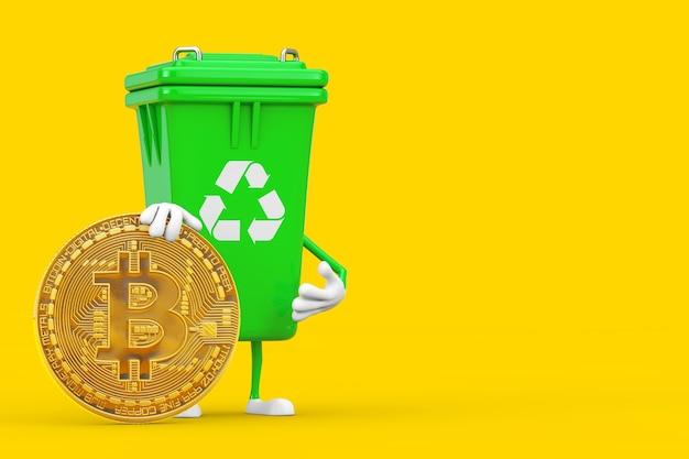 Recycle sign green garbage trash bin character mascot z cyfrową i kryptowalutową złotą monetą bitcoin na żółtym tle. renderowanie 3d