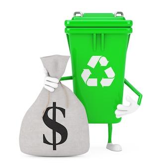 Recycle znak green garbage trash bin charakter maskotka z tied rustic canvas pościel worek pieniędzy lub worek pieniędzy ze znakiem dolara na białym tle. renderowanie 3d