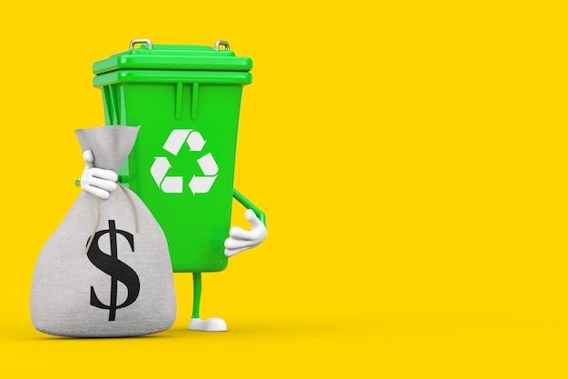 Recycle znak green garbage trash bin charakter maskotka z tied rustic canvas pościel worek pieniędzy lub worek pieniędzy ze znakiem dolara na żółtym tle. renderowanie 3d