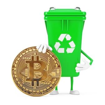 Recycle znak green garbage trash bin maskotka znaków z cyfrową i kryptowalutową złotą monetą bitcoin na białym tle. renderowanie 3d