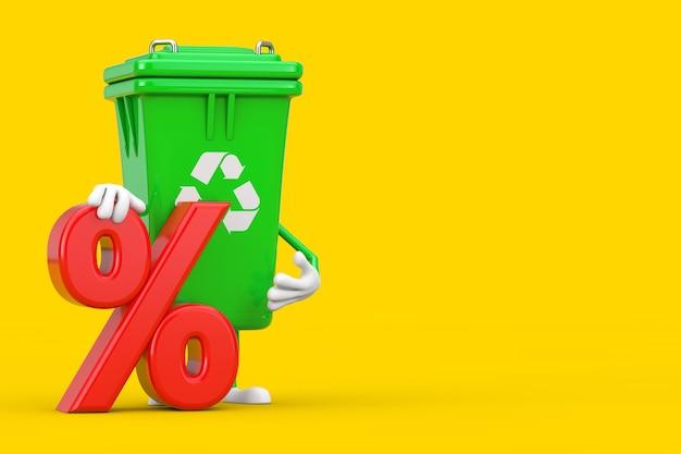 Recycle znak green garbage trash bin maskotka znaków z czerwonym procent sprzedaży detalicznej lub znak rabatu na żółtym tle. renderowanie 3d
