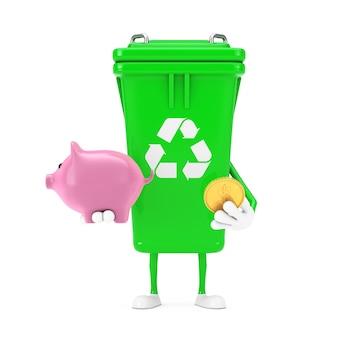 Recycle znak green garbage trash bin maskotka znaków z piggy bank i golden dollar coin na białym tle. renderowanie 3d