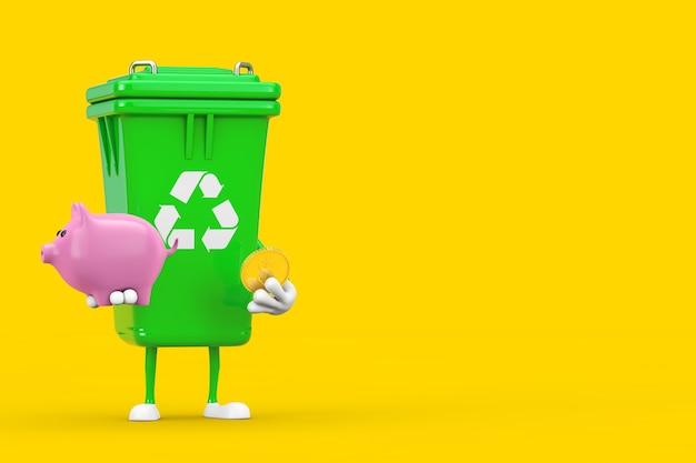 Recycle znak green garbage trash bin maskotka znaków z piggy bank i golden dollar coin na żółtym tle. renderowanie 3d
