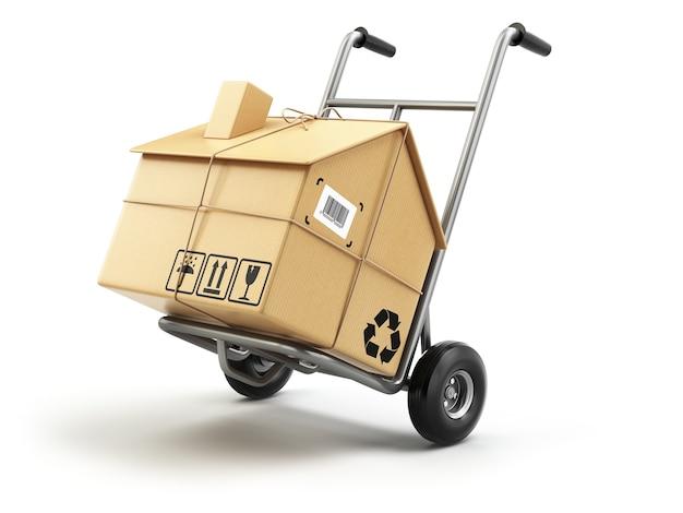Ręczna ciężarówka z kartonem jako dom na białym tle koncepcja dostawy lub przeprowadzki 3d