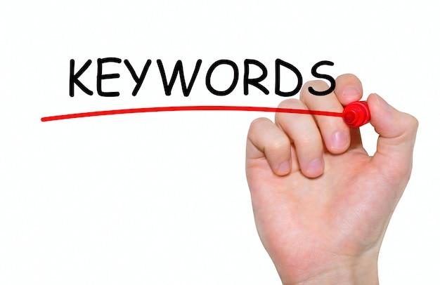 Ręczne Pisanie Słów Kluczowych Napis Z Markerem, Koncepcja Premium Zdjęcia
