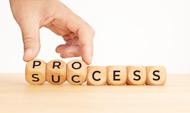 Ręczne przerzucanie proces do słowa sukcesu na drewnianych klockach. skopiuj miejsce