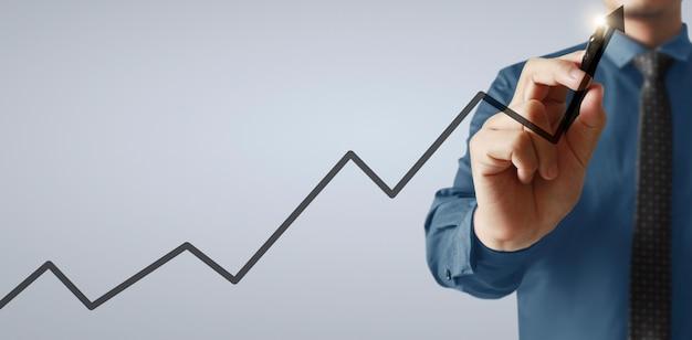 Ręczne rysowanie wykresu, wykresu akcji wzrostu