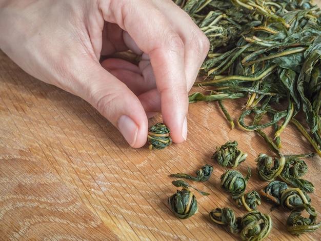 Ręczne skręcanie liści herbaty do fermentacji. fermentacja herbaty ivan
