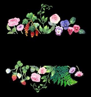 Ręcznie malowana akwarelowa ramka z różami bratki truskawki czerwone porzeczki leatherkeaf paproć łodyga i chaber