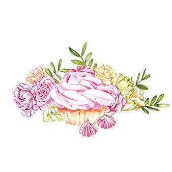 Ręcznie malowane akwarela ciasto ilustracja na białym tle. kolekcja słodyczy akwarela.