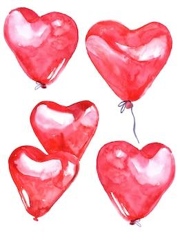 Ręcznie malowane akwarela różowe serce balony na białym tle