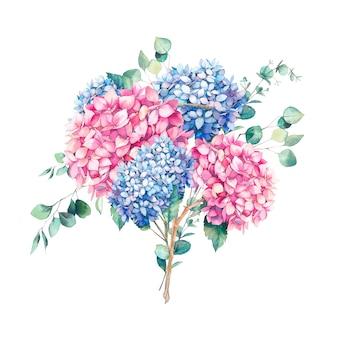 Ręcznie malowany bukiet kwiatowy. akwarela ilustracja botaniczna kwiatów hortensji i gałęzi eukaliptusa. naturalny skład odizolowywający na białym tle