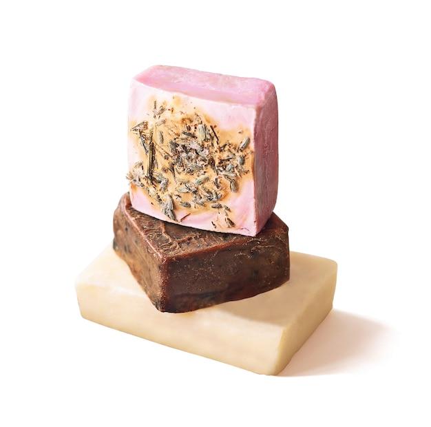 Ręcznie robione mydło w kostkach ziołowych. kosmetyki pielęgnacyjne do ciała