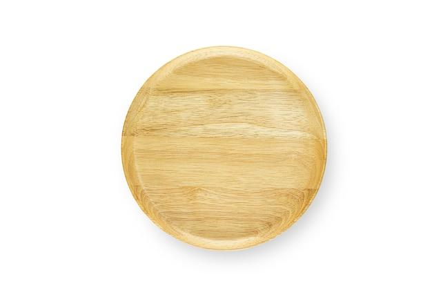 Ręcznie robione puste drewniane miski na białym tle