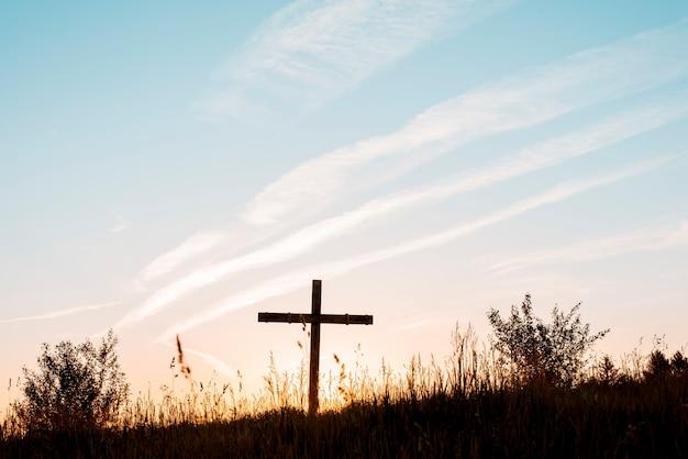 Ręcznie robiony drewniany krzyż w polu pod błękitnym niebem
