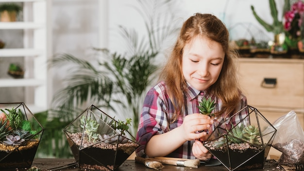 Ręcznie robiony naturalny prezent. dziewczyna sadząc zielone sukulenty w szklanym geometrycznym wazonie.
