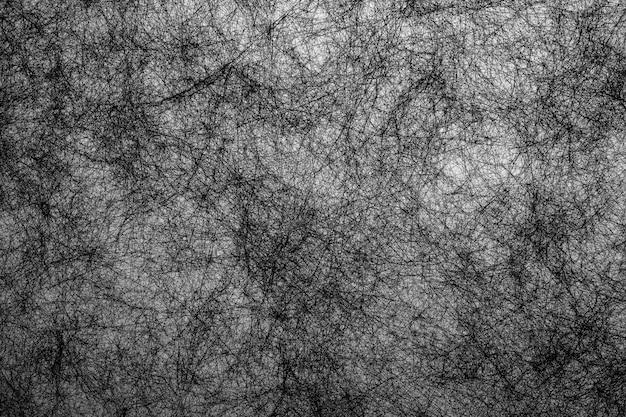 Ręcznie rysować abstrakcyjne tło czarne linie włókien na białym tle