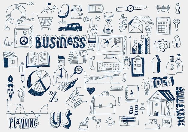Ręcznie rysować doodle elementy pieniądze, wykresy, wykresy. zarobki z analityki finansowej biznesu