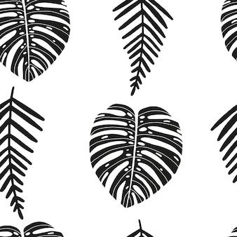 Ręcznie rysowane abstrakcyjny wzór z tropikalnymi liśćmi