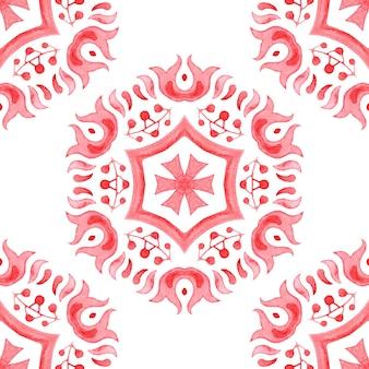 Ręcznie rysowane akwarela artystyczny płatek śniegu czerwony wieniec ozdobny. może służyć jako kartka świąteczna lub tło, tkaniny i płytki ceramiczne, zastawa stołowa