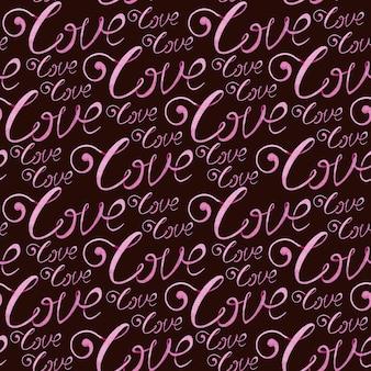 Ręcznie rysowane akwarela bezszwowe wzór z różowym słowem miłości