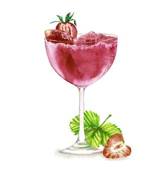 Ręcznie rysowane akwarela ilustracja lato świeży koktajl z truskawkami.