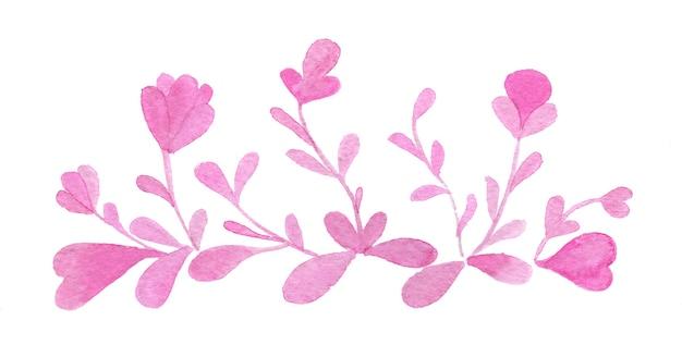 Ręcznie rysowane akwarela kwiaty i liście granicy na białym tle.