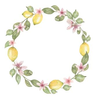 Ręcznie rysowane akwarela okrągły wieniec z cytryną.