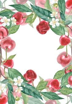 Ręcznie rysowane akwarela wieniec z kwiatów wiśni i liści