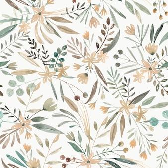 Ręcznie rysowane akwarela wzór. dzikie rośliny, dzikie kwiaty. urocza łąka z różnymi roślinami i kwiatami