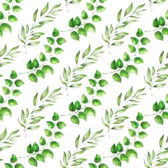 Ręcznie rysowane akwarela wzór. tło z wiosennych liści i gałęzi.