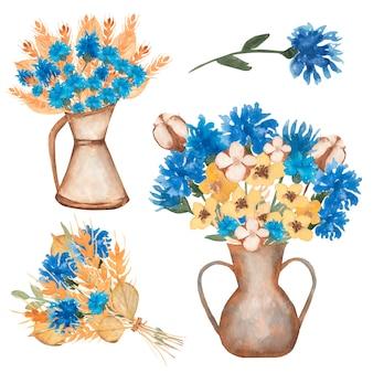 Ręcznie rysowane akwarela żółte kłosy pszenicy i ilustracja bukiet niebieskie kwiaty
